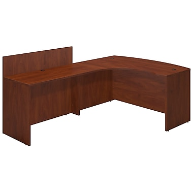Bush® Business Westfield Elite 60W x 43D Left Hand Bowfront Desk Shell with 48W Privacy Return, Hansen Cherry