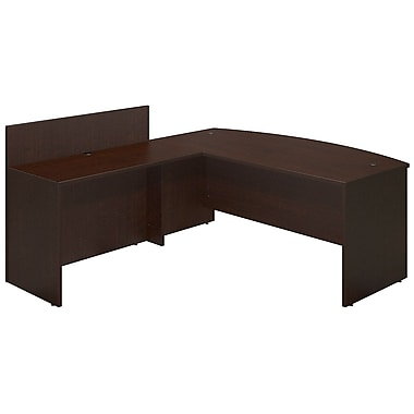 Bush® Business Westfield Elite 72W x 36D Bowfront Desk Shell with 48W Privacy Return, Mocha Cherry