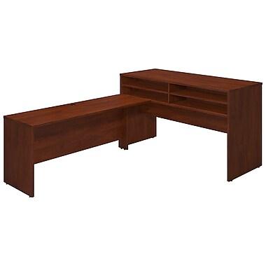 Bush® Business Westfield Elite 72W x 30D Standing Height Desk Shell with Shelf Kit and 72W Return, Hansen Cherry