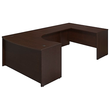 Bush® Business Westfield Elite 60W x 43D Right Hand Bowfront U Station Desk Shell, Mocha Cherry