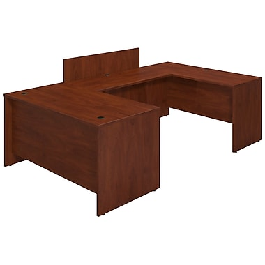 Bush® Business Westfield Elite 60W x 30D U Station Desk Shell with Privacy Bridge, Hansen Cherry