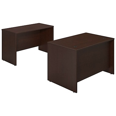 Bush® Business Westfield Elite 48W x 30D Desk Shell with Credenza, Mocha Cherry