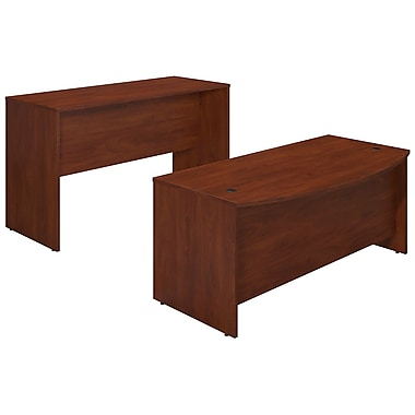 Bush® Business Westfield Elite 72W x 36D Bowfront Desk Shell with Standing Height Credenza, Hansen Cherry