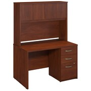 Bush Business Westfield Elite 48W x 30D Desk Shell with Hutch and 3Dwr Pedestal, Hansen Cherry
