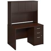 Bush Business Westfield Elite 48W x 30D Desk Shell with Hutch and 3Dwr Pedestal, Mocha Cherry