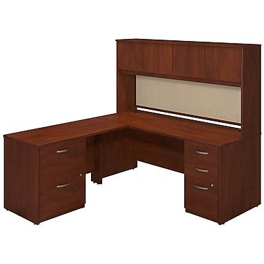Bush® Business Westfield Elite 72W x 30D Desk Shell with 48W Return, Hutch and Storage, Hansen Cherry