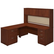 Bush Business Furniture 72W x 30D Desk with 48W Return, Hutch and Storage, Hansen Cherry (SRE130HCSU)