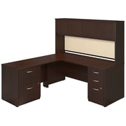 Bush Business Furniture 72W x 30D Desk with 48W Return, Hutch and Storage, Mocha Cherry (SRE130MRSU)