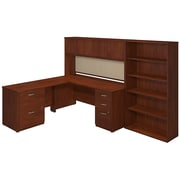 Bush Business Westfield Elite 72W x 30D Desk Shell with 48W Return, Hutch and Storage, Hansen Cherry, Installed