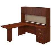 Bush Business Furniture 72W x 24D L Shaped Desk with Peninsula Return, Hutch and Storage, Hansen Cherry (SRE137HCSU)