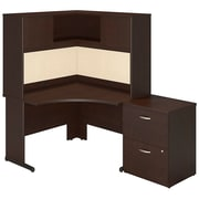 Bush business furniture 48w x 48d c leg corner desk with storage mocha cherry sre144mrsu - Staples corner storage ...