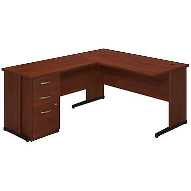 Bush® Business Westfield Elite 60W x 30D C Leg L Desk with Storage, Hansen Cherry
