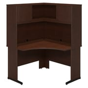 Bush Business Westfield Elite 48W x 48D C-Leg Corner Desk with Hutch, Mocha Cherry, Installed
