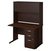 Bush Business Westfield Elite 48W x 30D C-Leg Desk with Hutch and Storage, Mocha Cherry
