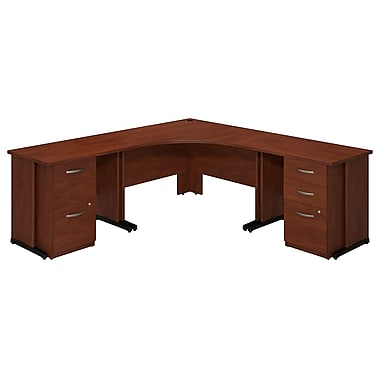 Bush® Business Westfield Elite 48W x 48D Corner Desk with 36W Desks and 2 and 3 Drawer Pedestals, Hansen Cherry