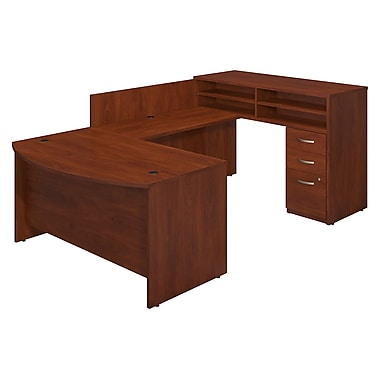 Bush® Business Westfield Elite 60W x 36D Bow Front U-Station with Standing Height Desk and Storage, Hansen Cherry