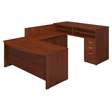 Bush® Business Westfield Elite 72W x 36D Bow Front U-Station with Standing Height Desk and Storage, Hansen Cherry