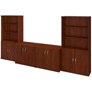 Bush Business Westfield Elite 36W Storage Cabinets with Bookcases, Hansen Cherry, Installed