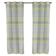 m.style Padova Printed Grommet Window Curtain Panel (Set of 2); Sage / Silver