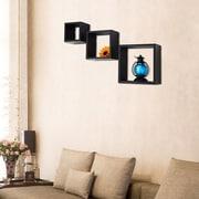 AdecoTrading 3 Piece Floating Square Wall Shelf Set