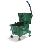 Carlisle Sanitary Maintenance Products 26 Qt. Bucket with Side Press Wringer; Green