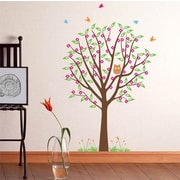 Pop Decors Flower Tree with Cute Owl Removable Vinyl Art Wall Decal