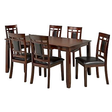 Brassex – Ensemble de salle à manger 7 pièces 597, fini noyer et sièges noirs