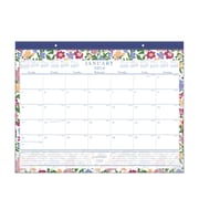 "2016 Staples® Floral Monthly Desk Pad, 21 3/4"" x 17"", Design, (26249-16)"