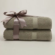 Linum Home Textiles Herringbone Weave 100pct Turkish Cotton Bath Towel (Set of 2); Light Olive