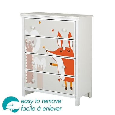 South Shore Cotton Candy 4-Drawer Chest with Fox Ottograff Decals, 31.5