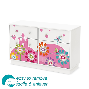 South Shore Joy 6-Drawer Double Dresser with Flowers and Castle Ottograff Decals, 48