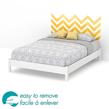 South Shore Step One Queen Platform Bed with Yellow Chevron Headboard Wall Decal, White