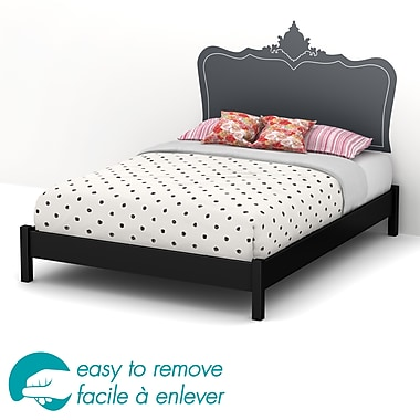 South Shore Step One Queen Platform Bed on Legs & Black Baroque Headboard Ottograff Wall Decal, Black