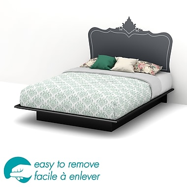 South Shore Step One Queen Platform Bed & Black Baroque Headboard Wall Decal, Black