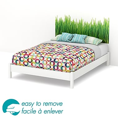 South Shore Step One Queen Platform Bed on Legs & Grass Headboard Wall Decal, White