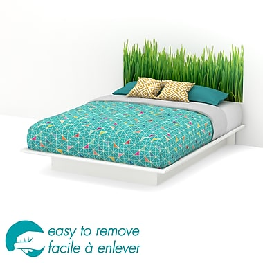 South Shore Step One Queen Platform Bed & Grass Headboard Ottograff Wall Decal, White