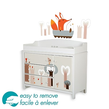 South Shore Cotton Candy Changing Table&Fox in the Forest Decals and Wall Decals, 48