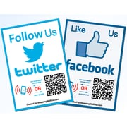 Shopping Wall Social Media LUOF-002-2 Facebook Twitter QR Code Stickers Set of 2