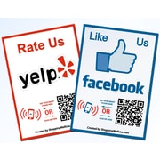 Shopping Wall QR Code Stickers Facebook Yelp Social Media set of 2