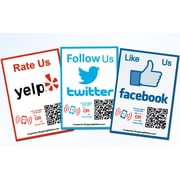 Shopping Wall FITY-003-3 QR Code Stickers, Facebook Twitter Yelp Social Media, 3/Set