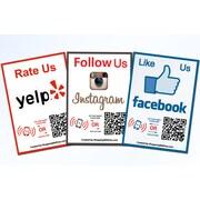 Shopping Wall QR Code Stickers Facebook Instagram Yelp Social Media 3/Set