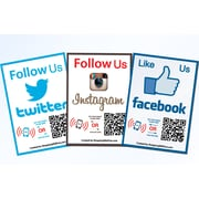 Shopping Wall QR Code Stickers Facebook Instagram Twitter Social Media 3/Set