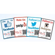 Shopping Wall LFITFOUR QR Code Stickers Facebook Instagram Twitter Yelp Social Media 4/Set