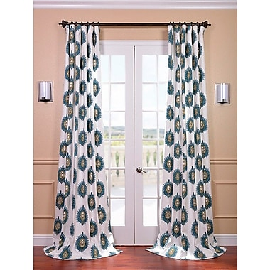 Half Price Drapes Mayan Printed Cotton Rod Pocket Semi-Opaque Single Curtain Panel; 50'' W x 120'' L