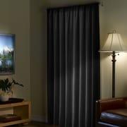 Maytex Faux Suede Rod Pocket Single Curtain Panel; Black