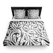 KESS InHouse ''Black and White Paisley'' Woven Comforter Duvet Cover; Full/Queen