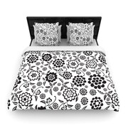 KESS InHouse ''Cherry Floral White'' Woven Comforter Duvet Cover; King