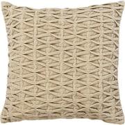 Chandra Textured Beige Throw Pillow; 18'' H x 18'' W