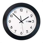 Peter Pepper Round Calendar Wall Clock 11'' Diameter with Black Plastic Bezel