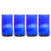 Wine Punts Flat Bottom Wine Glass (Set of 4); Blue